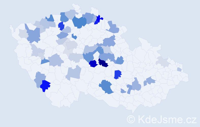 Příjmení: 'Hudík', počet výskytů 136 v celé ČR