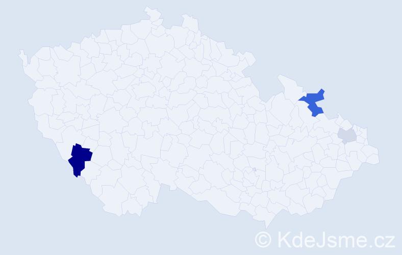 Příjmení: 'Čemengová', počet výskytů 5 v celé ČR