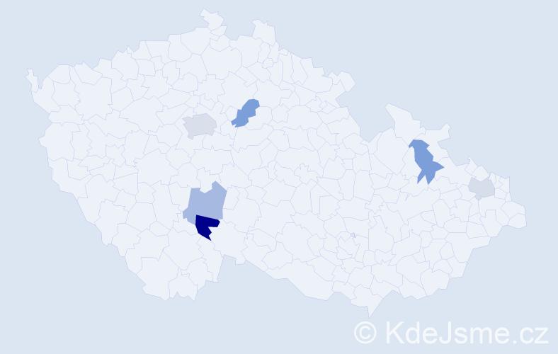 Příjmení: 'Dančišinová', počet výskytů 9 v celé ČR