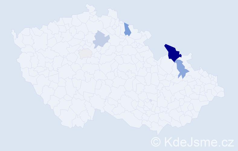 Příjmení: 'Čipkala', počet výskytů 9 v celé ČR