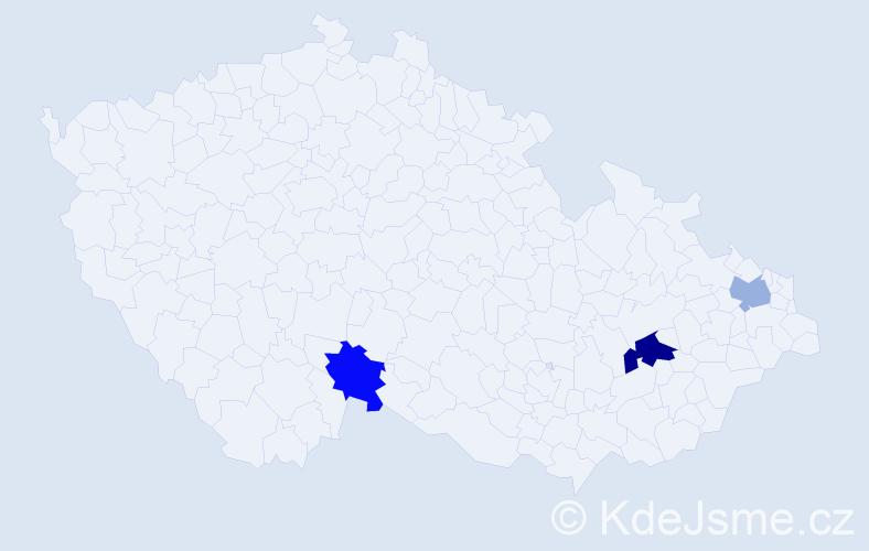 Příjmení: 'Blísová', počet výskytů 4 v celé ČR
