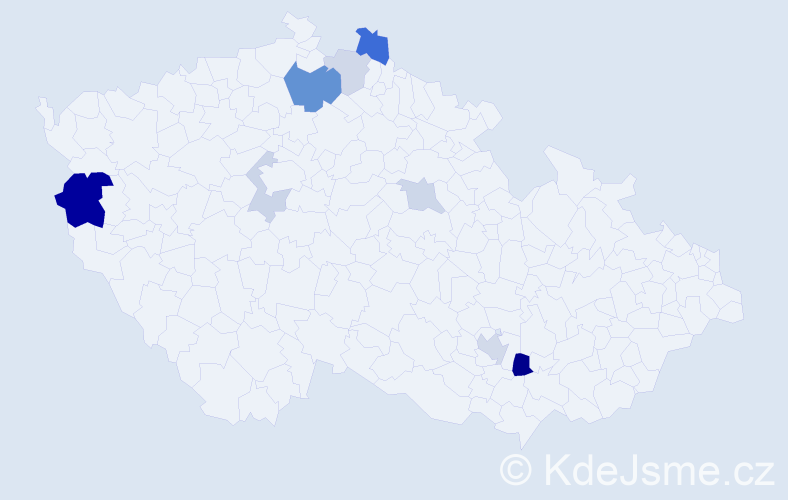 Příjmení: 'Lacíková', počet výskytů 19 v celé ČR