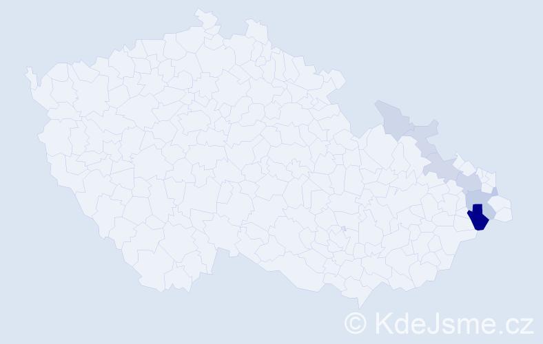 Příjmení: 'Česlarová', počet výskytů 21 v celé ČR