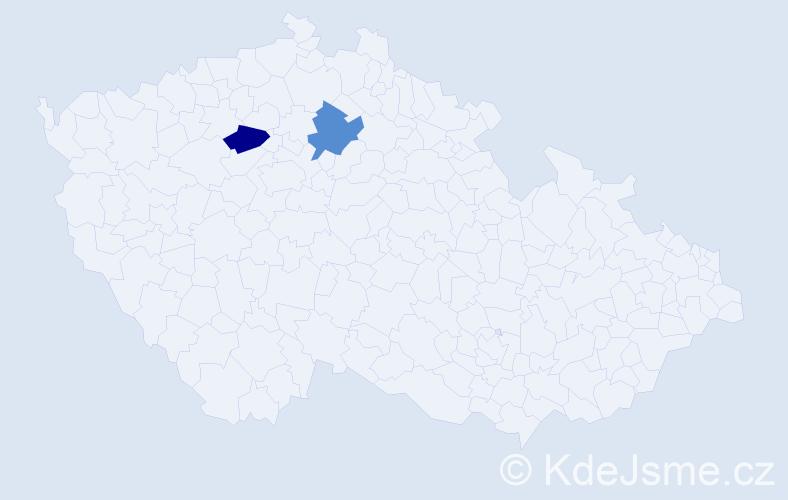 """Příjmení: '""""Červená Šulcová""""', počet výskytů 2 v celé ČR"""