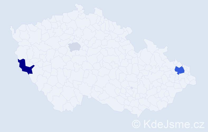 Příjmení: 'Kaubová', počet výskytů 5 v celé ČR
