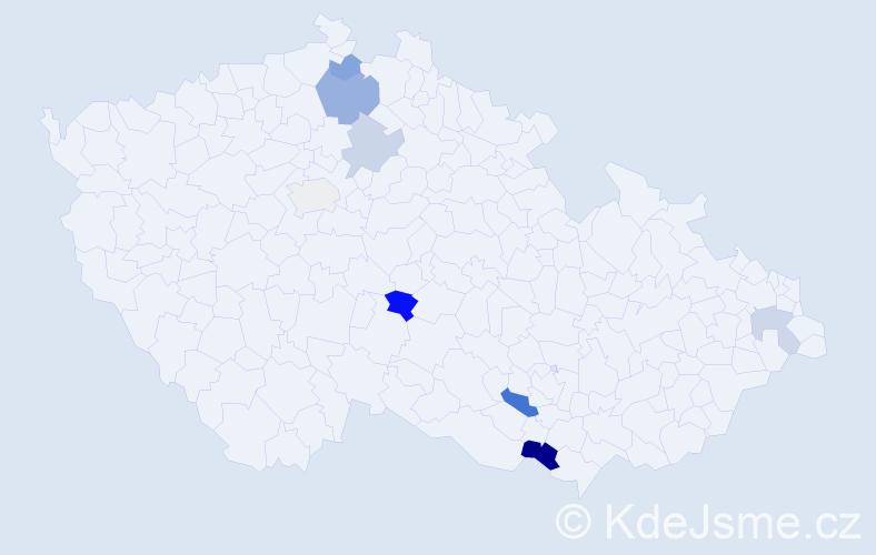 Příjmení: 'Dačová', počet výskytů 13 v celé ČR