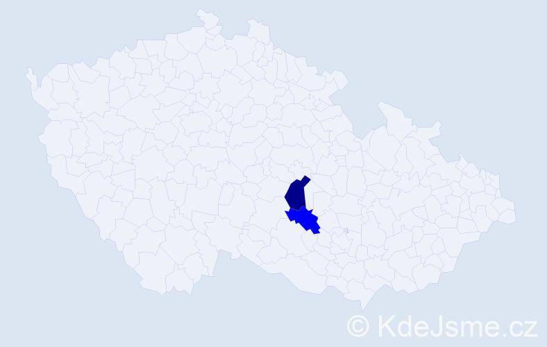 Příjmení: 'Invaldová', počet výskytů 5 v celé ČR