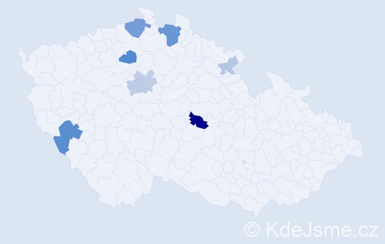 Příjmení: 'Kajínek', počet výskytů 27 v celé ČR