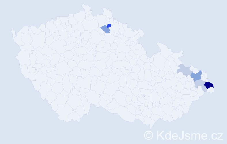 Příjmení: 'Hulbojová', počet výskytů 18 v celé ČR