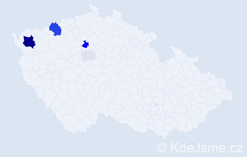 Příjmení: 'Černáčová', počet výskytů 7 v celé ČR
