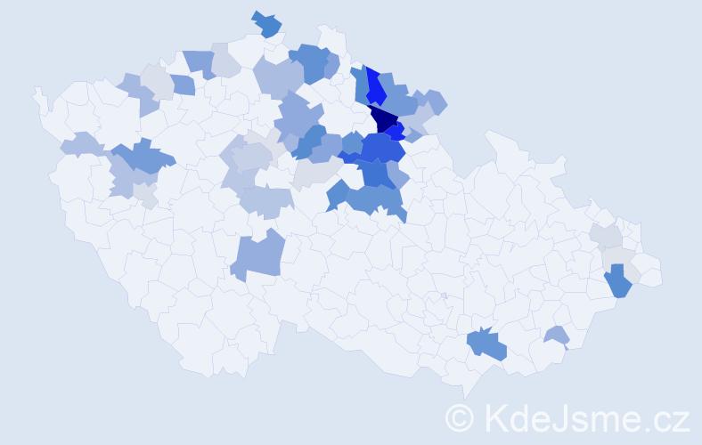Příjmení: 'Jirousková', počet výskytů 180 v celé ČR