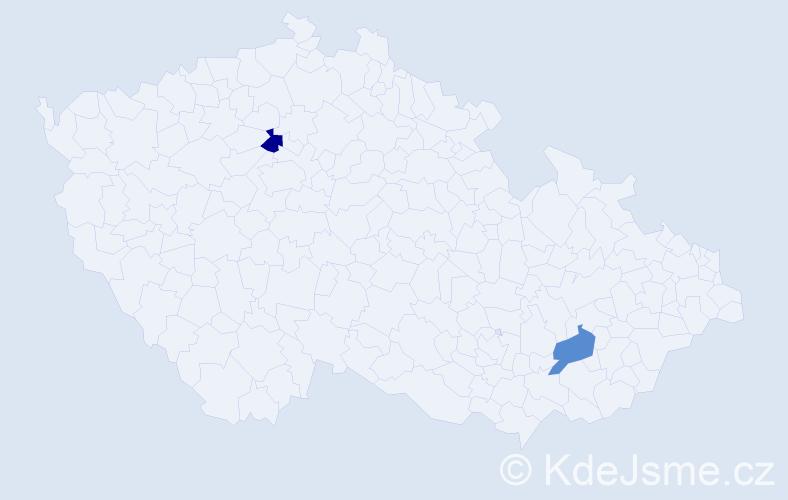 Příjmení: 'Bolčáková', počet výskytů 2 v celé ČR