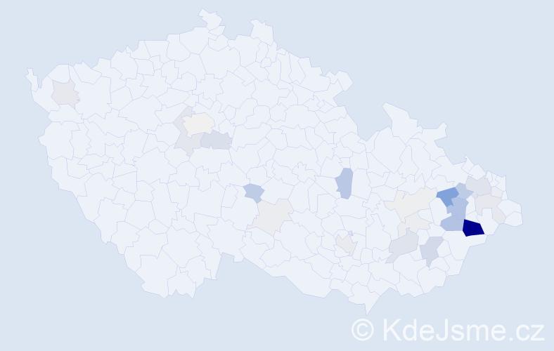 Příjmení: 'Bolcek', počet výskytů 106 v celé ČR