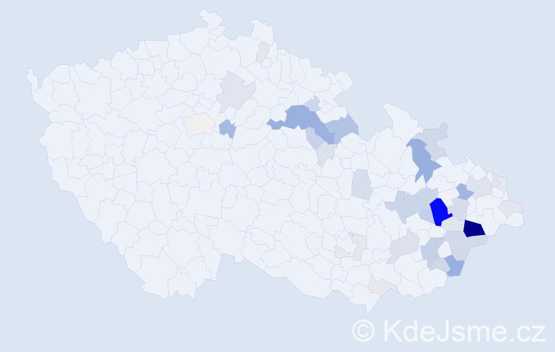 Příjmení: 'Andrys', počet výskytů 117 v celé ČR