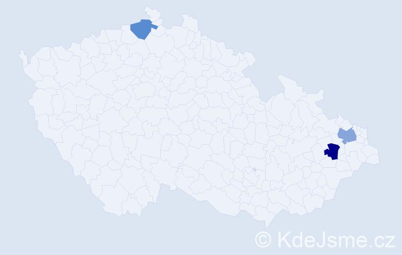 Příjmení: 'Andrássy', počet výskytů 8 v celé ČR