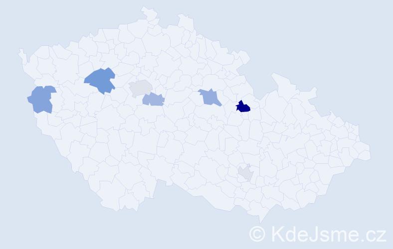 Příjmení: 'Káralová', počet výskytů 13 v celé ČR