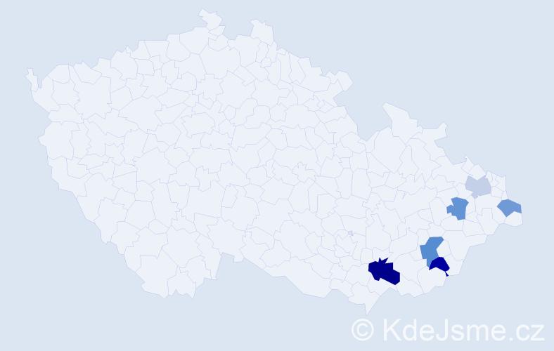 Příjmení: 'Ďaďanová', počet výskytů 9 v celé ČR