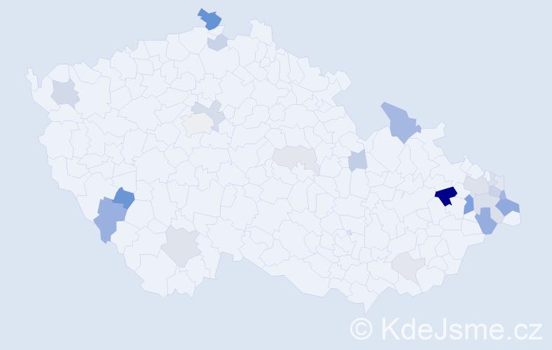 Příjmení: 'Činčala', počet výskytů 59 v celé ČR