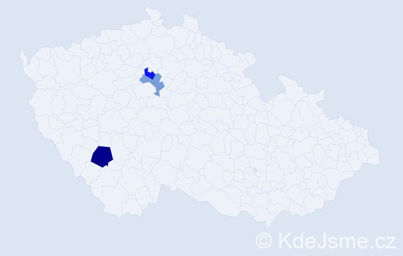 Příjmení: 'Činovská', počet výskytů 4 v celé ČR