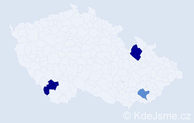 Příjmení: 'Gaťák', počet výskytů 4 v celé ČR