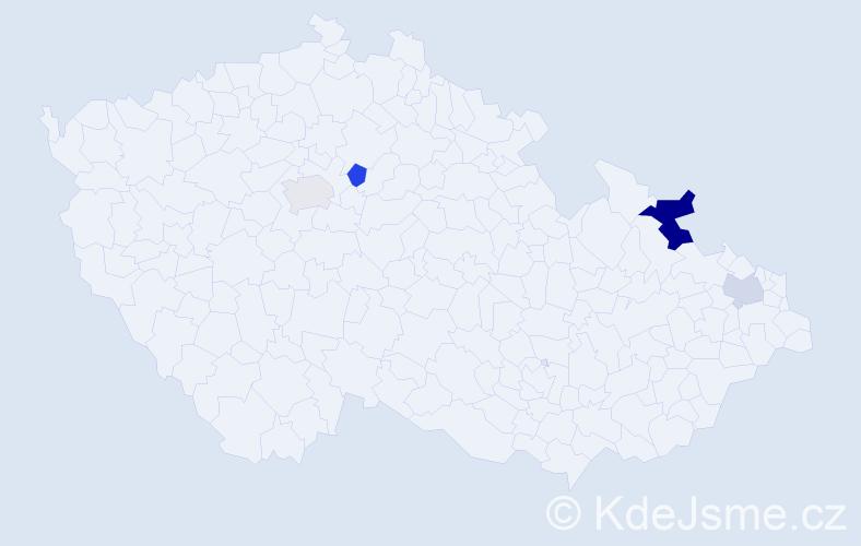 Příjmení: 'Česlár', počet výskytů 6 v celé ČR