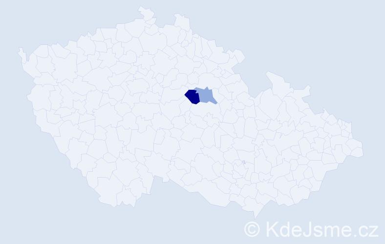 Příjmení: 'Čepčář', počet výskytů 7 v celé ČR