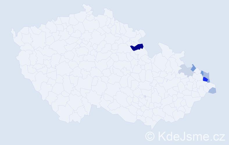 Příjmení: 'Kiszka', počet výskytů 38 v celé ČR