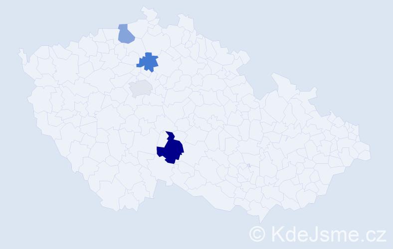 Příjmení: 'Gláslová', počet výskytů 5 v celé ČR