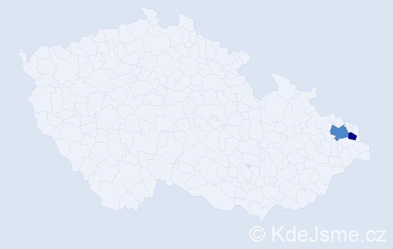 Příjmení: 'Cependová', počet výskytů 9 v celé ČR