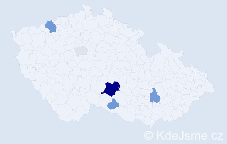 Příjmení: 'Kalay', počet výskytů 19 v celé ČR