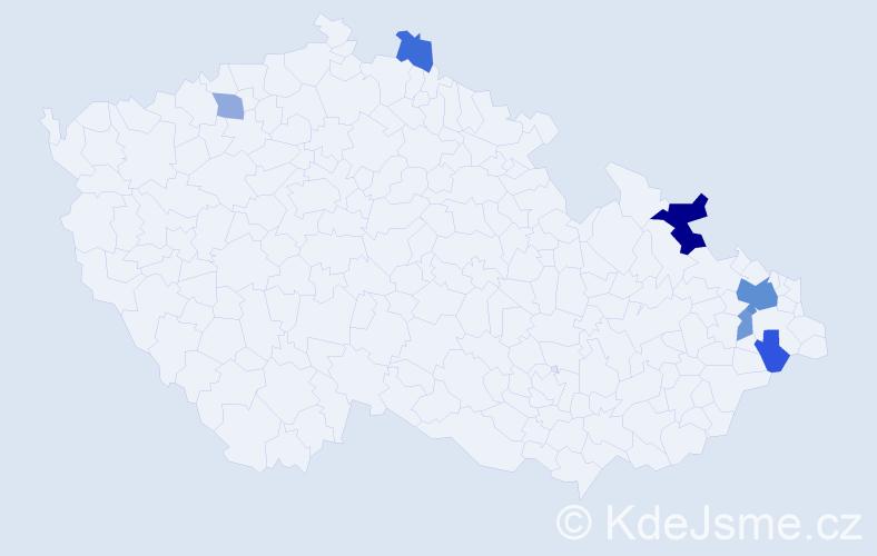 Příjmení: 'Dybalík', počet výskytů 13 v celé ČR