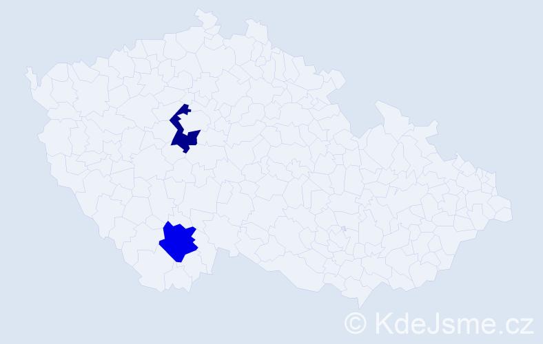 Příjmení: 'Agas', počet výskytů 2 v celé ČR