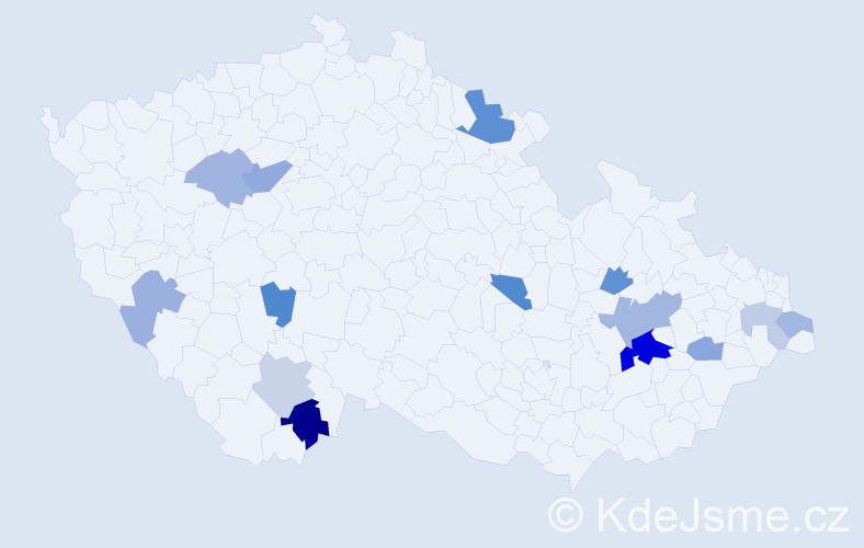 Příjmení: 'Hagerová', počet výskytů 25 v celé ČR