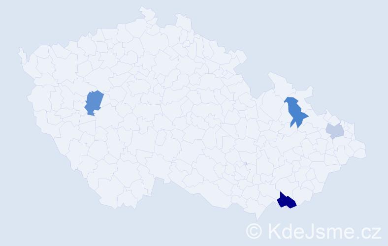 Příjmení: 'Kudielka', počet výskytů 5 v celé ČR