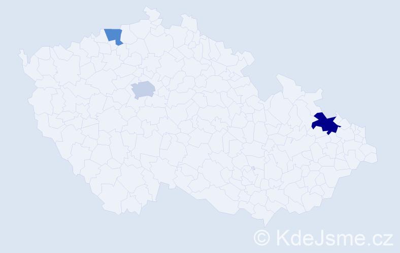 Příjmení: 'Krajewski', počet výskytů 9 v celé ČR