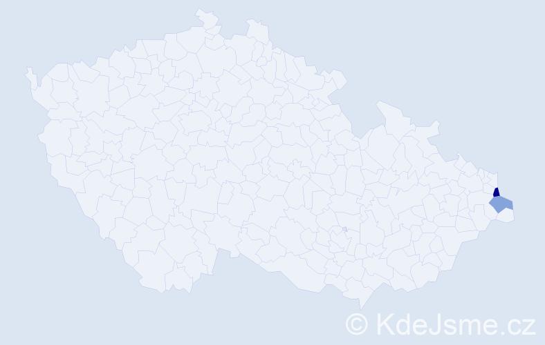 Příjmení: 'Huczała', počet výskytů 3 v celé ČR
