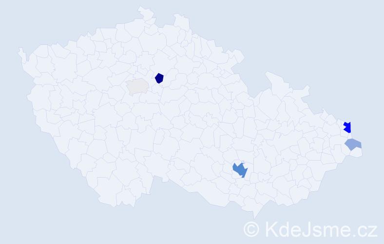 Příjmení: 'Bednarčiková', počet výskytů 19 v celé ČR