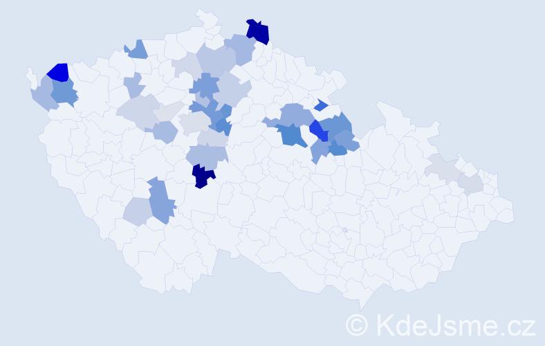 Příjmení: 'Čaban', počet výskytů 102 v celé ČR