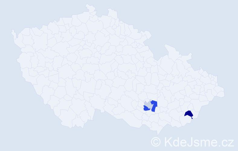 Příjmení: 'Hletková', počet výskytů 4 v celé ČR