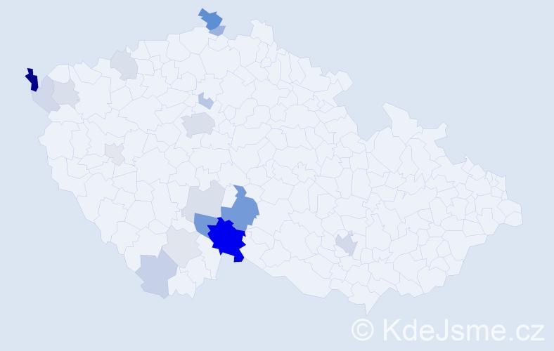 Příjmení: 'Hryzáková', počet výskytů 48 v celé ČR
