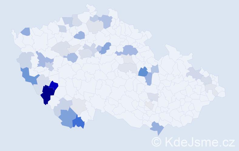 Příjmení: 'Lašek', počet výskytů 105 v celé ČR