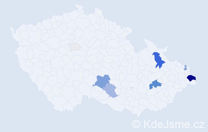 Příjmení: 'Habčáková', počet výskytů 15 v celé ČR