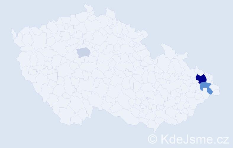 Příjmení: 'Gacka', počet výskytů 16 v celé ČR