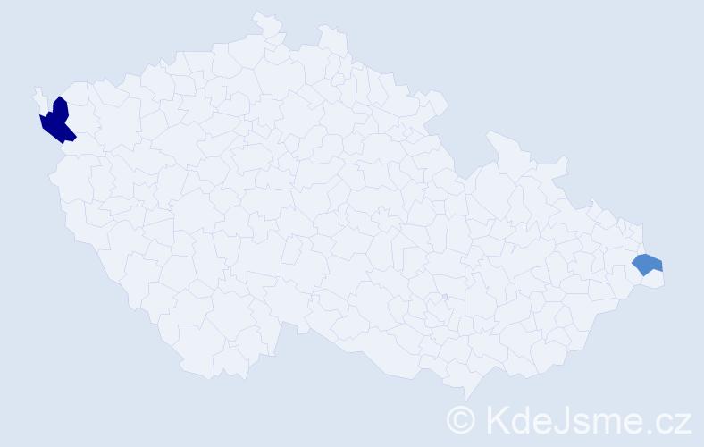 Příjmení: 'Hvizda', počet výskytů 3 v celé ČR