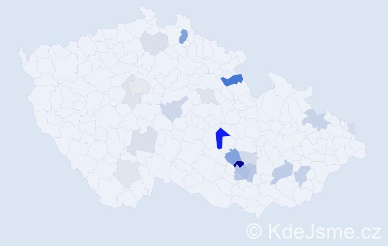 Příjmení: 'Kartousová', počet výskytů 48 v celé ČR