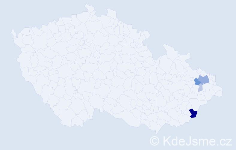 Příjmení: 'Deklevová', počet výskytů 16 v celé ČR