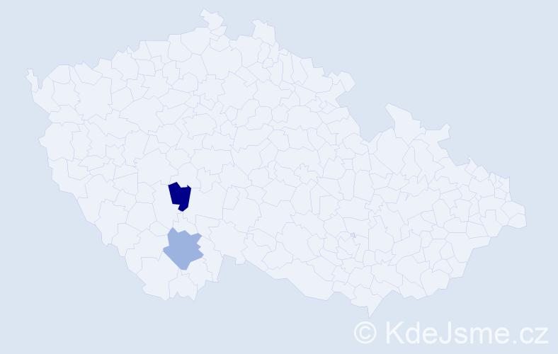 Příjmení: 'Ĺupták', počet výskytů 2 v celé ČR