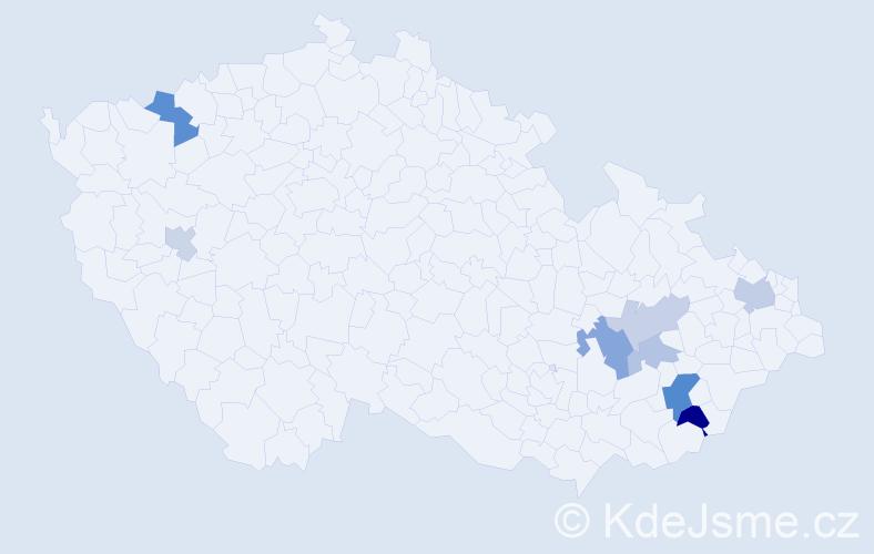 Příjmení: 'Čmeláková', počet výskytů 15 v celé ČR