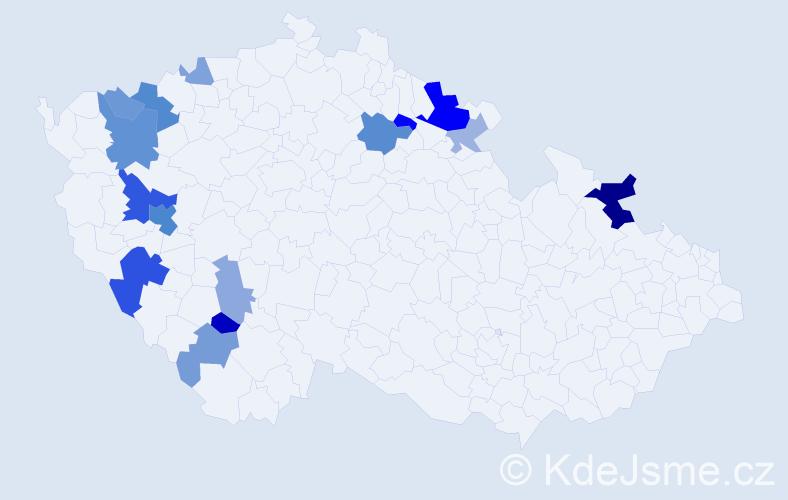 Příjmení: 'Kleistner', počet výskytů 35 v celé ČR