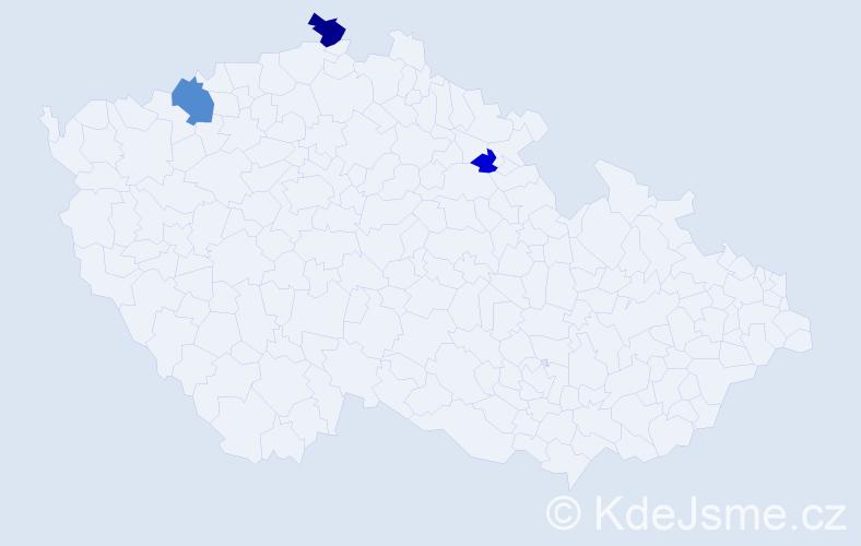 Příjmení: 'Iljuková', počet výskytů 5 v celé ČR